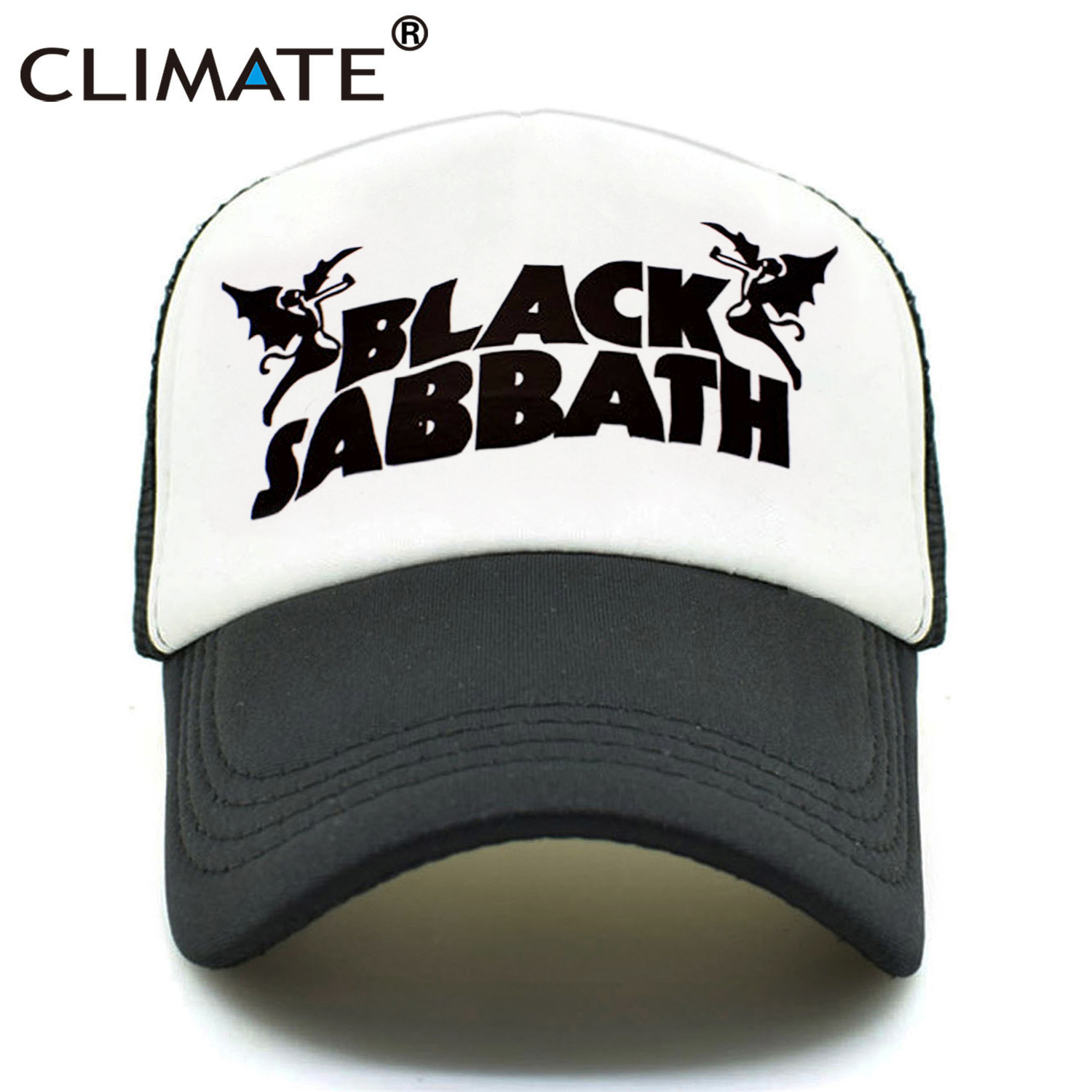CLIMATE Men Women Trucker Caps Black Sabbath Rock Caps Cool Summer Heavy Metal Rock Music Band Baseball Mesh Net Trucker Cap Hat