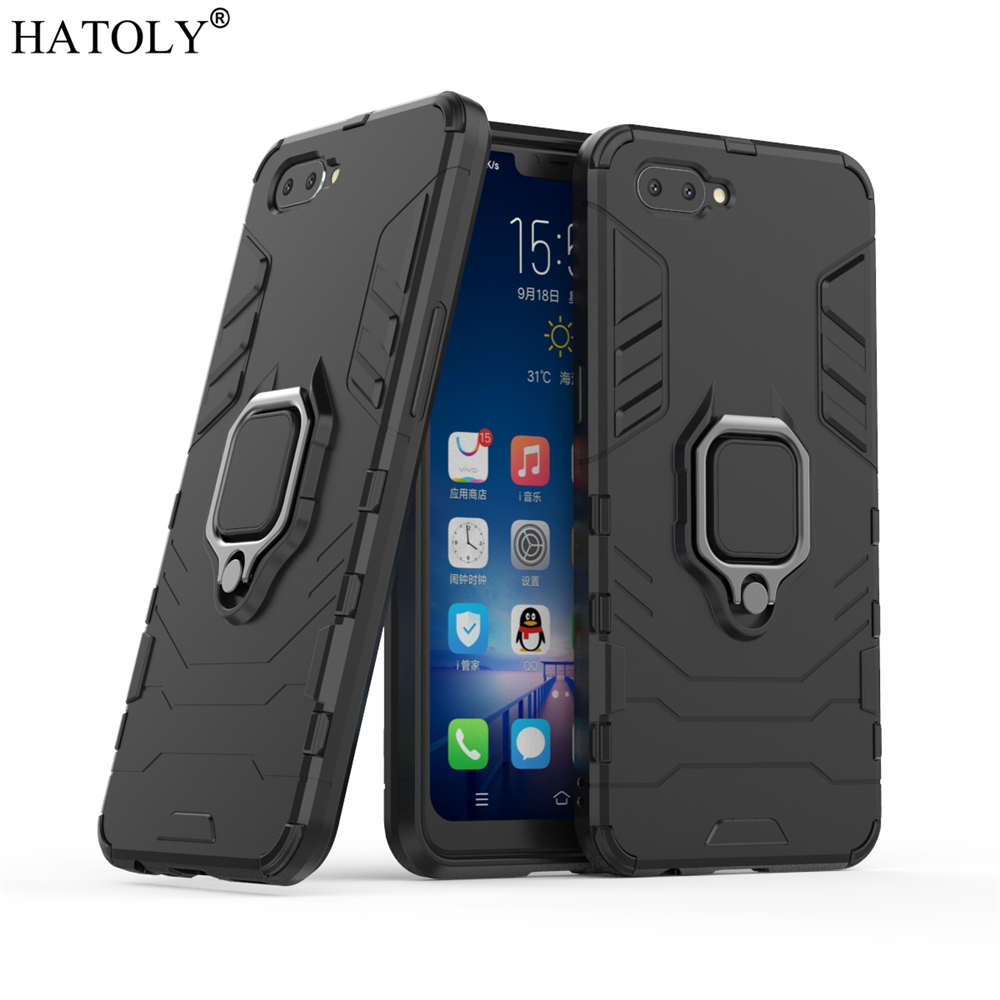 OPPO A5 Case Cover for OPPO A5 Magnetic Finger Ring Phone Case Shell Bumper HATOLY Protective Armor Case For OPPO A5 A3S