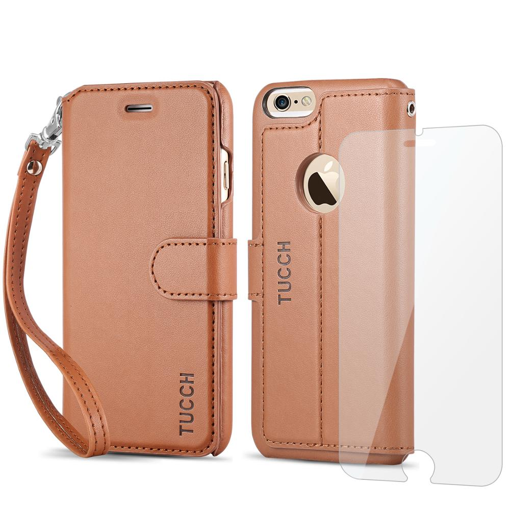iPhone 6s / 6 Case, TUCCH Leather Wallet Phone Case [Card Slot] [Flip] [Wallet] [Stand] [Wrist Strap] Carry-All Case