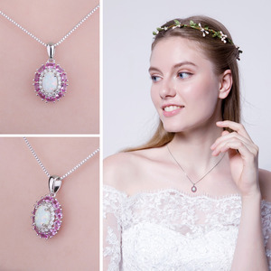 Image 4 - Created Created Opal Pink Sapphire Pendant Necklace 925 Sterling Silver Gemstones Choker Statement Necklace Women Without Chain
