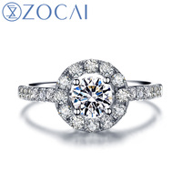 ZOCAI 1.0ct certified genuine diamond engagement ring 18K white gold diamond ring W05486