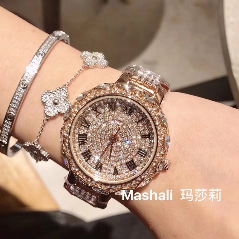 купить Full Diamond Steel Watches Woman Quartz Watches Ladies Dress Watch Top Brand Luxury Women's Wristwatch Rose Gold montre femme по цене 2118.8 рублей