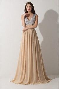 Image 2 - Vestido Madrinha Sexy V Neck szampana szyfonowe suknie dla druhen odblaskowa sukienka na ślub szata na imprezę Demoiselle Dhonneur