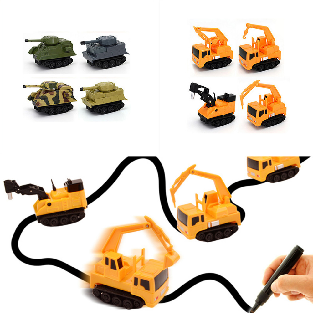 1pcs Magic Pen Inductive Car Tank Truck Follow Any Drawn Black Line Track Mini Toy Engineering Vehicles Educational Toy 8