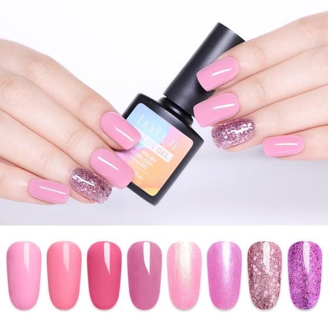 LILYCUTE 8ml Nail Gel Polish Pure Nail Color Pink