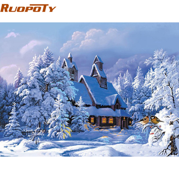 RUOPOTY Frame Christmas Snow Landscape DIY Painting By Numbers Wall Art Picture Modern Hand Painted Oil 40x50cm decor