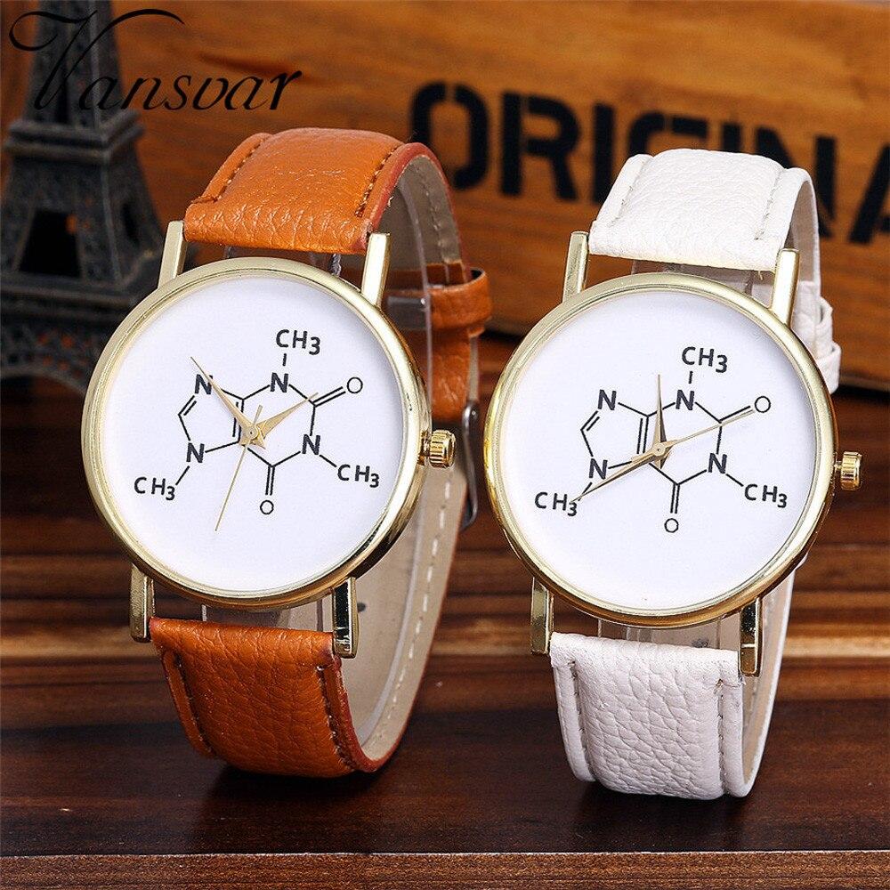 Vansvar Brand Fashion Chemistry Caffeine Molecules Watch Unique Creativity Wrist Watches Leather Quarzt Watches Relogio 2019 Q