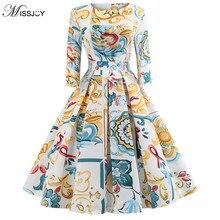 MISSJOY 2018 Vintage Sukienki Belt flower Lemon Print Big swing Party Dress  Elegant vadim Women Autumn Winter Vestidos de fies vintage style flower print swing dress