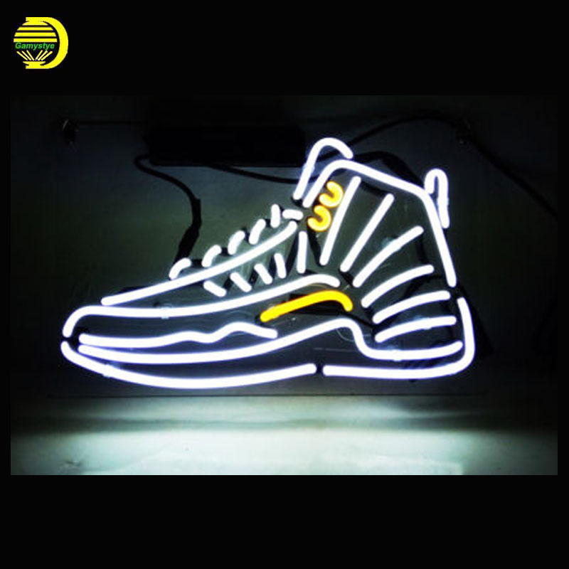Shoe Neon Sign JORDA Brand LOGO SNEAKER Neon Bulbs Sign Business Sign Wal lighted Lamp Art Shop Advertise Light with Clear Board custom neon signs neon bulbs neon light sign for home beer bar pub game room handcrafted real glass tube custom size custom logo
