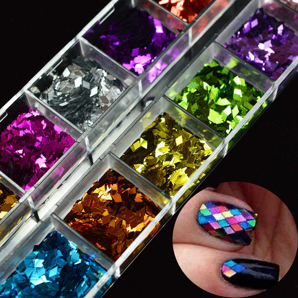 1box shining nail flakies glitter rhombus nail sequins for Paillette decoration