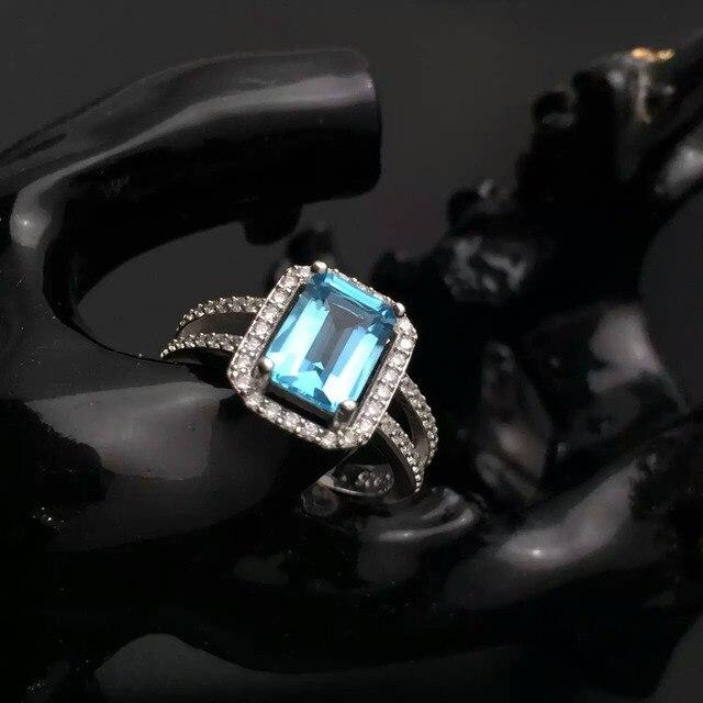 Классический драгоценное кольцо твердого стерлингового серебра топаз 6*8 мм изумрудный cut природных топаз серебро принцесса кольцо романтический подруга подарок