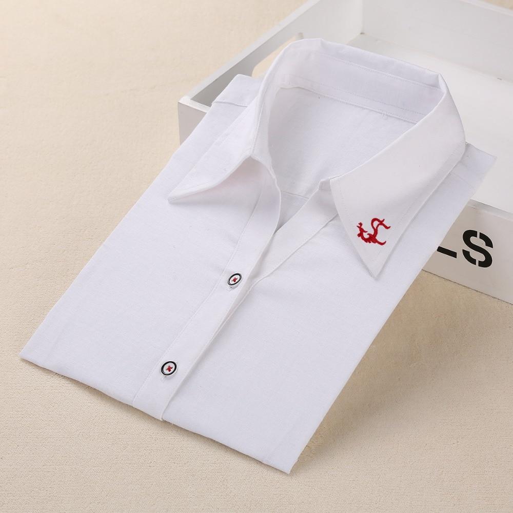 Dioufond Stickerei Frauen Hemden Blusen Kragen Büro Damen Tops Weißes Langarmhemd Frauen Arbeit Baumwolle Leinen Kleidung