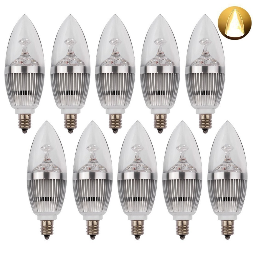 LED Candelabra Bulb, LED Candle Bulbs E12 3W 25W Equivalent Warm White 3000K 270LM CRI80 Non-Dimmable 10 Pack Silver Lamp e14 3w 270lm 6500k white non dimmable led candle candelabrum lamp bulb silver 6 pcs