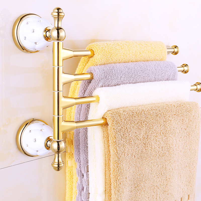 Gold Plated Ceramic Base 3/4 Arm Towel Rod Towel Bar Four Bar Five Bar 270 Degree Rotation Towel Hanging Rack Brass Bathroom Set forudesigns casual women handbags peacock feather printed shopping bag large capacity ladies handbags vintage bolsa feminina