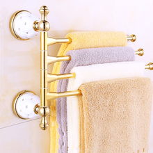 Gold Plated Ceramic Base 3/4 Arm Towel Rod Towel Bar Four Bar Five Bar 270 Degree Rotation Towel Hanging Rack Brass Bathroom Set
