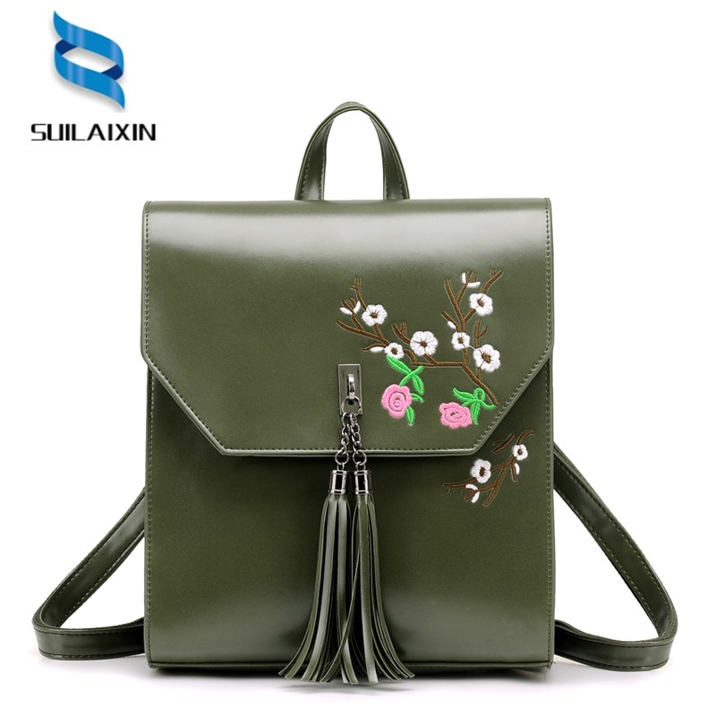 High Quality Women Leather Embroidery Backpack With Tassel Solid Vintage School Bag for Teenager Girl Flowers