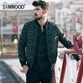Simwood 2016 nuevo otoño abrigos de invierno los hombres de moda de estilo militar bombardero chaqueta de camuflaje parkas ropa de marca informal mf9602