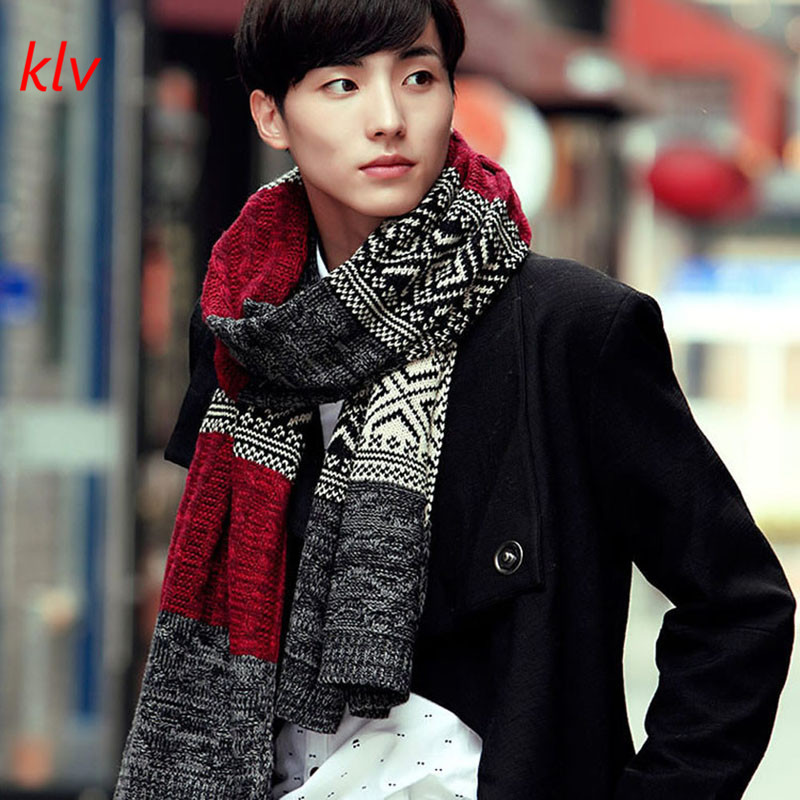 KLV Winter Gentleman Men Fashion Casual Shawl   Wrap   Muffler Geometric   Scarf   Assorted Color   Scarves   Warm 5 Colors