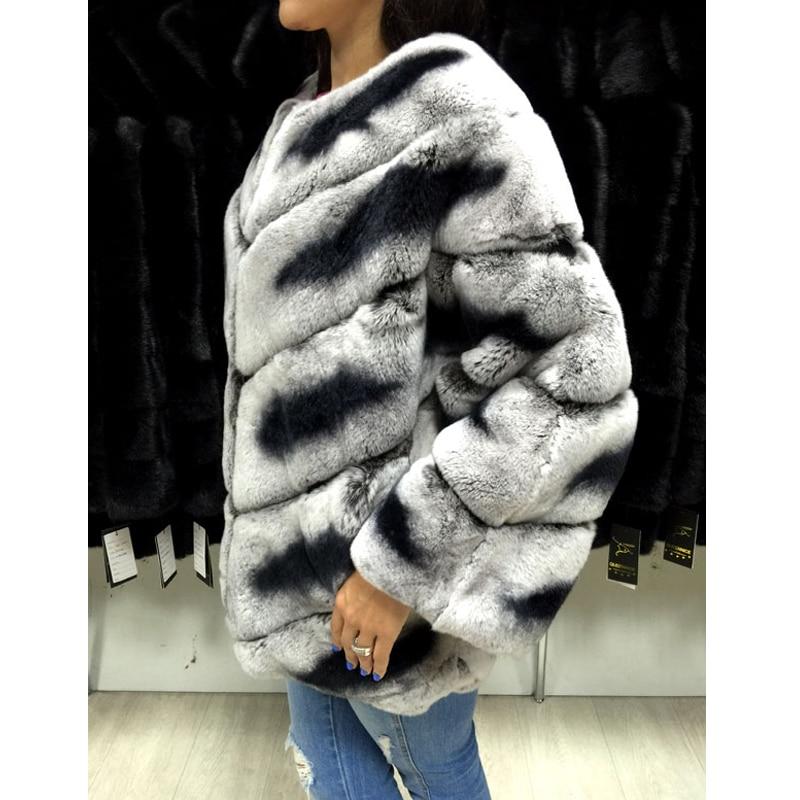 Naturel Réel Rb As D'hiver Chaud Picture Lapin 2018 Complet Rex O De Outwear Mode Manteau 050 Pelt Nouvelle Fourrure cou Femmes Chinchilla Veste SxxnqH7F5w