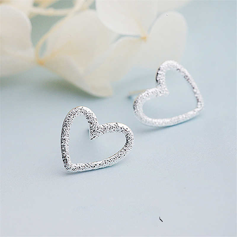 Handmade 925 Sterling Silver Jewelry Fashion Cute Tiny Hollow Heart Stud Earrings For Women Gift For Girls Kids Lady EH650