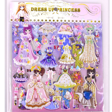 8 sheets 3D stickers dress up Girls dolls cartoon Bubble sticker PVC kids toys Lovely pegatinas for children gifts new style