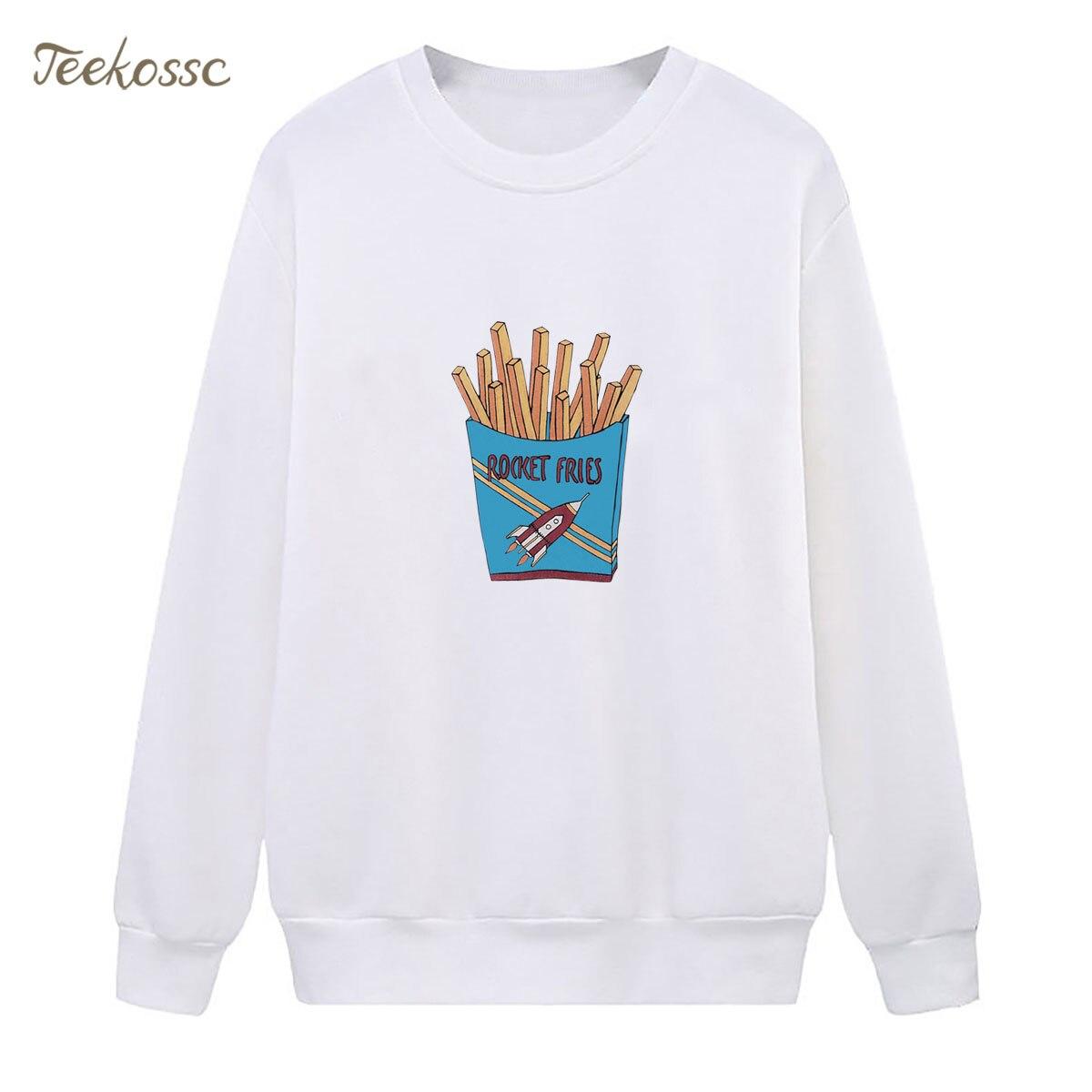Rocket Fries Sweatshirts White Print Hoodie 2018 New Fashion Winter Autumn Women Lady Pullover Fleece Warm Loose Streetwear