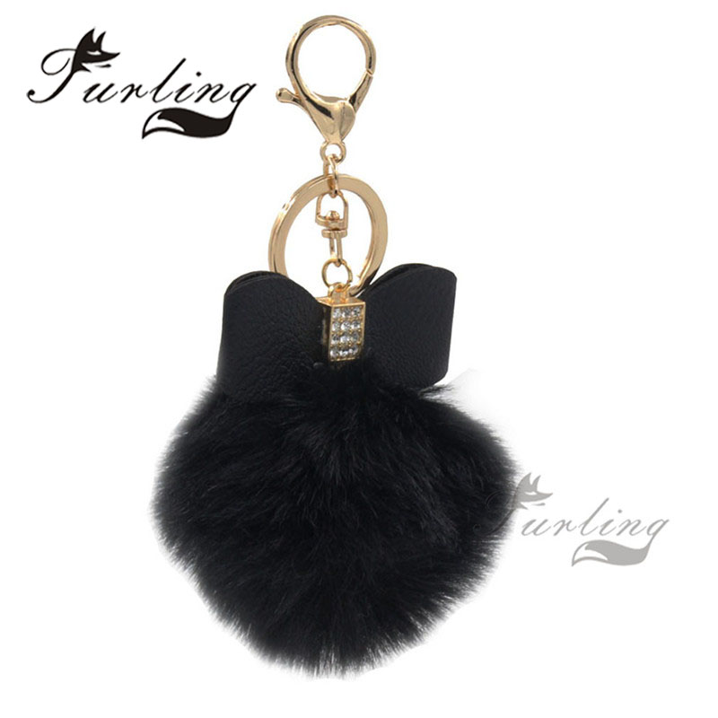 Furling Fashion Faux Fur Pom pom Ball 8cm Soft Gold Metal Pendant Keychain Holder Key Ring Hand Bag Charm DIY Accessory Gift