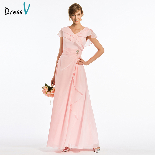 Dressv Pink Long V Neck Bridesmaid Dress Cap Sleeves A Line Pleats Chiffon Simple Wedding
