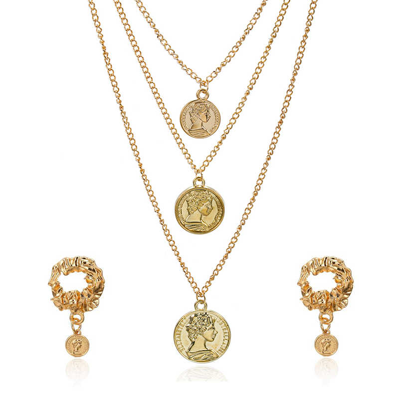 2019 Fashion charm pendant necklace bohemian female Multi-layer necklace retro gold carved coin necklace Earrings jewelry NE+EA