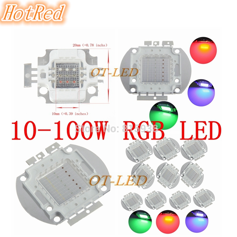 10W/20W/30W/50W/100W LED RGB Integrated High Power Lamp bulbs Red Green Blue light Chips Free shipping 10pcs/lot 3w led rgb high power led lamp bulbs rgb six legs 350ma 3 2 3 4v taiwan genesis hpo chips free shipping