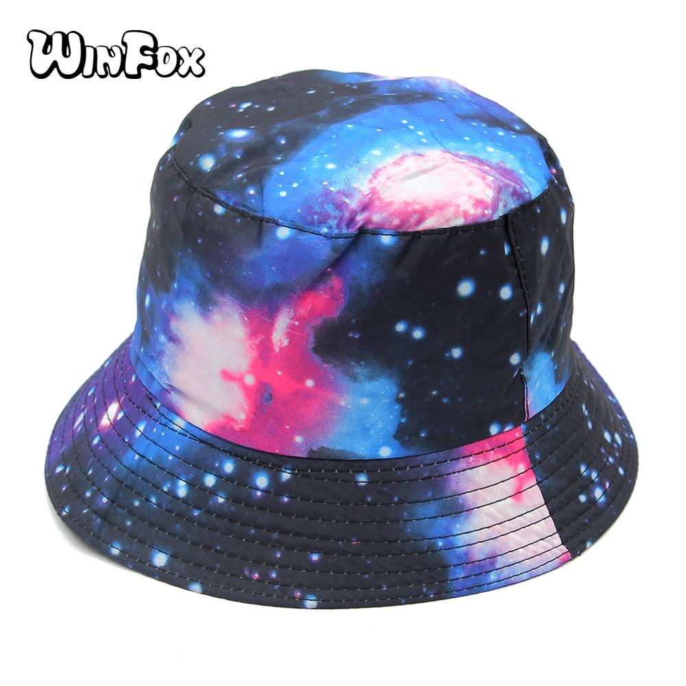 021e346a9ba Winfox Fashion Summer Unisex Galaxy Hunting Fishing Hats Bucket Caps Womens  Mens