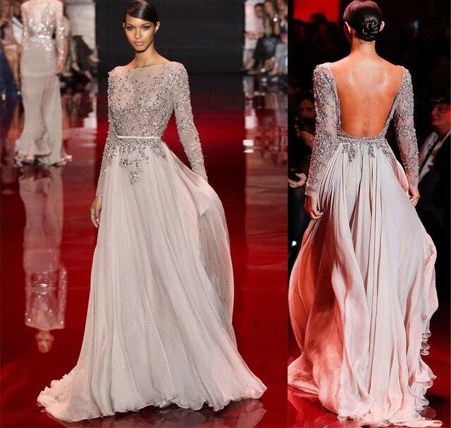 Elie Pura De Vestidos Sin Encargo Saab Noche Espalda 2015 Por Moda qnv1xXt0z