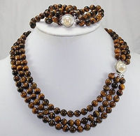 HOT SELL New Design Natural Tiger Eye Stone 17 Brecelet & 20 Necklace Jewelry Set NEW Top quality free shipping