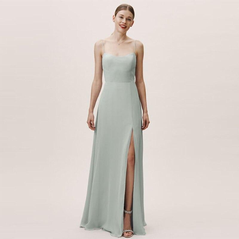 Verngo Chiffon Bridesmaid Dresses Fashion Spaghetti Straps Bridesmaid Dress Elegant Dress Wedding Party Grey Vestido Madrinha in Bridesmaid Dresses from Weddings Events