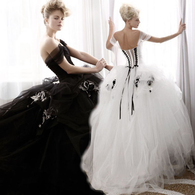 2016 new arriva ball gown sweetheart long wedding dress for Wedding dresses white and black