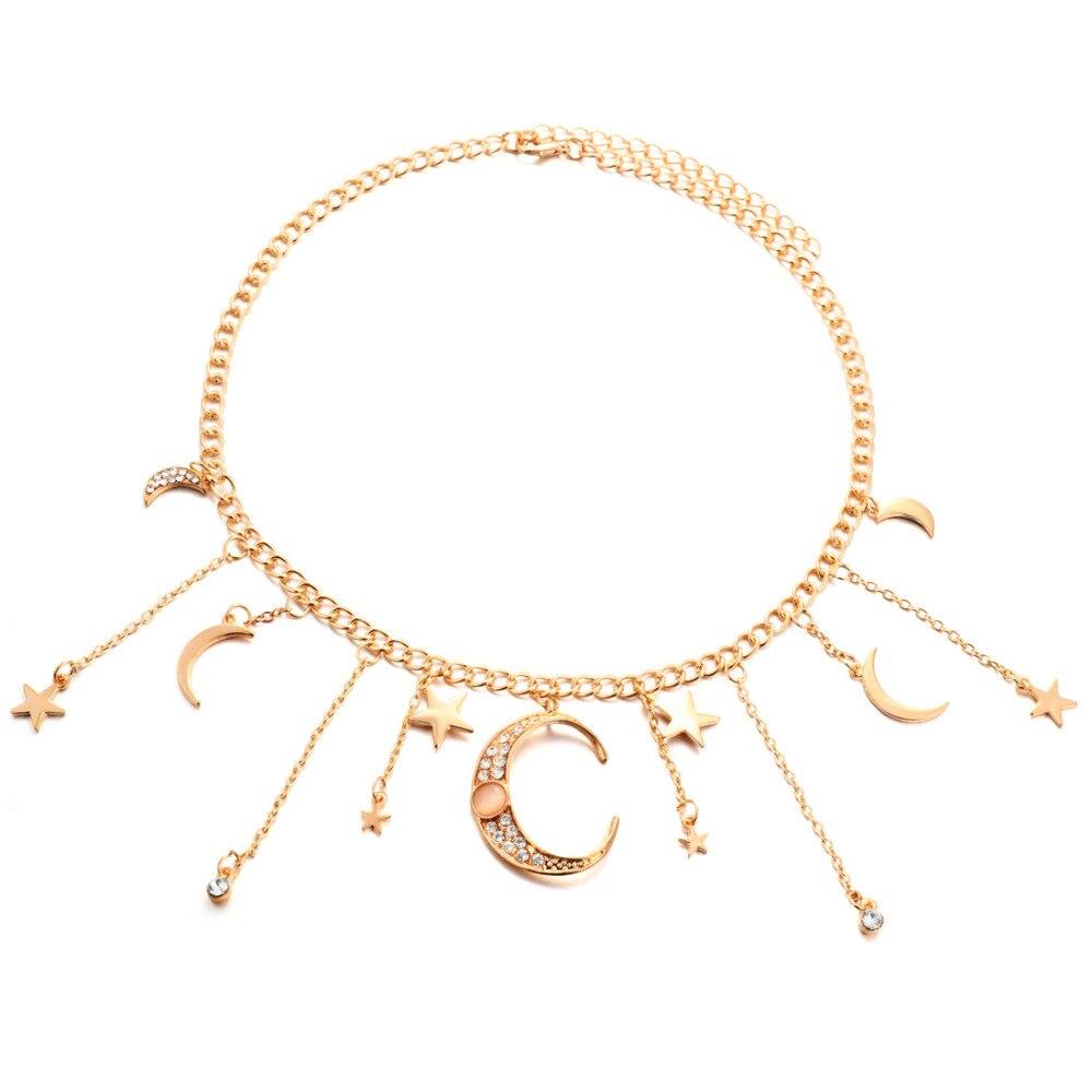 2020 New Women Bling Cubic Zirconia Christmas Gift Moon Star Drop Charm Chocker Choker Statement Necklace Necklace