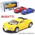 1:36 Bugatti Veyron Diecasts Modelo de Carro Liga de Carro de Brinquedo Do Menino Quente Máquinas de rodas de Carros Crianças Brinquedos para Crianças Brinquedos para Meninos BVYELLOW