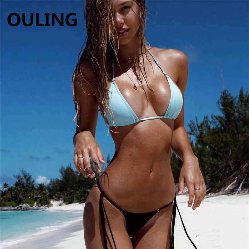 5aadae5728 OULING Bandage Bikini Micro Push Up Biquini Sexy Women Swimwear Mini  Swimsuit Brazilian Bikini Set Secret