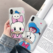 Cute cartoon Donald Duck 6 case for iphone 6s 7 8 plus Daisy Anti-knock soft tpu clear back cover xr x xs max