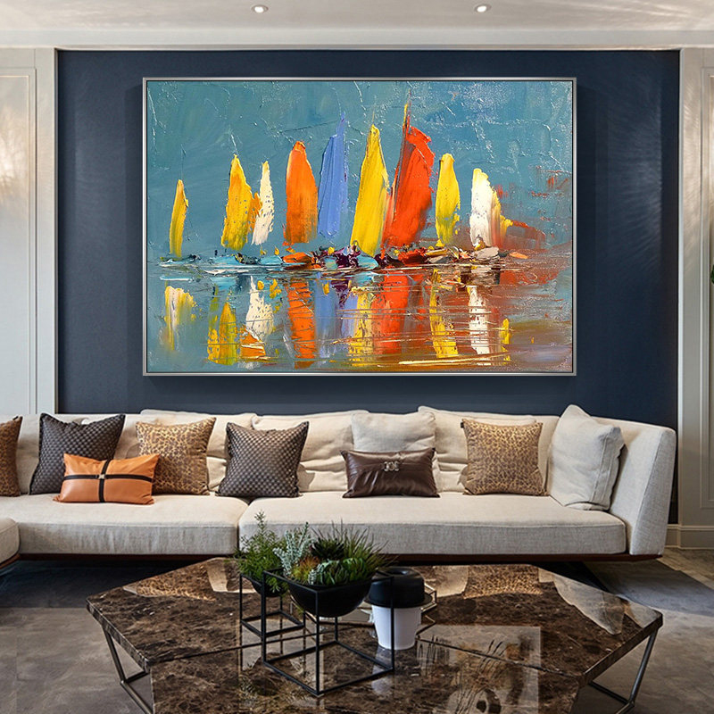 100 Hand Painted Abstract Sailing Art Oil Painting On Canvas Wall Art Wall Adornment Pictures Painting For Live Room Home Decor in Painting Calligraphy from Home Garden