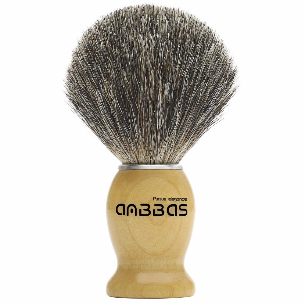 New Anbbas 1pcs Portable Badger Hair Shaving Brush Men Gift Silver Collar Brush Free Shipping