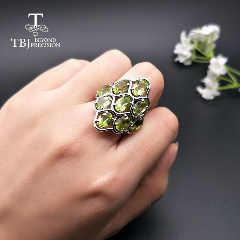 TBJ,925 sterling silver natural gemstone peridot big size rings fine jewelry for woman anniversary party wear nice gift