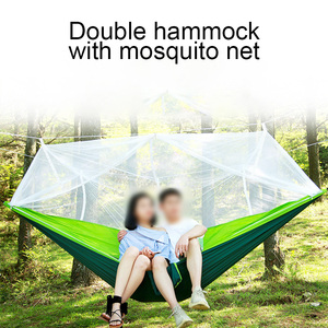 Image 1 - 1 2 Person Portable Outdoor Camping Hammock with Mosquito Net High Strength Parachute Fabric Hanging Bed Hunting Sleeping Swing