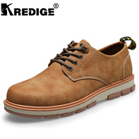 KREDIGE Men S Casual Shoes Big Leather Shoes Leather British Wind Retro Style Comfortable And Durable