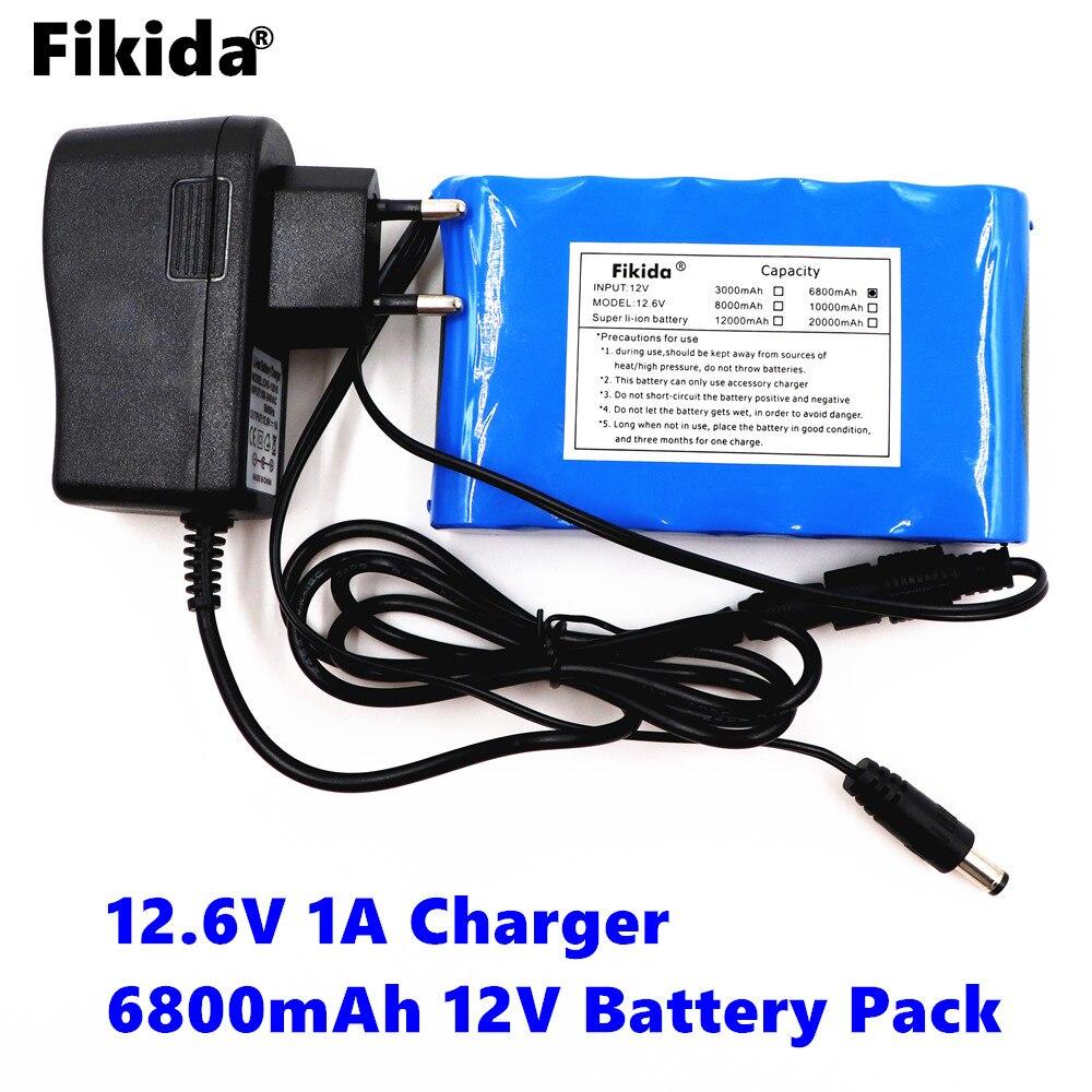Fikida Original Portable Super Rechargeable Lithium Ion battery pack capacity DC 12V 12.6v 6800mah battery CCTV Cam Monitor original xiaomi ми 3 3050mah cellphone бэттери bm31 high capacity rechargeable бэттери pack 100