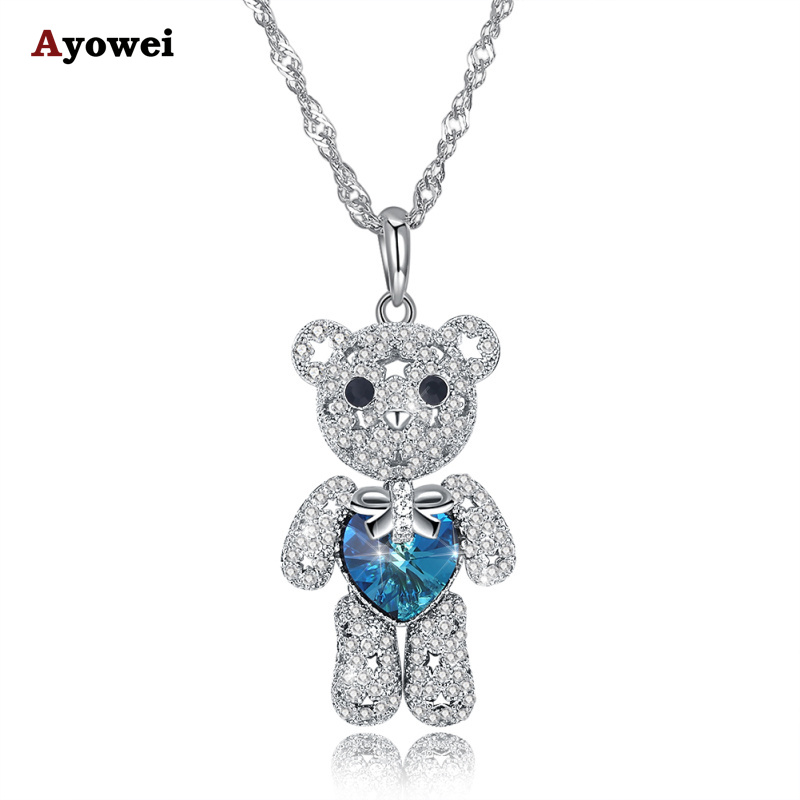 Ayowei bear shape 925 sterling silver blue zircon pendant necklace birthday gift SP72A ayowei heart shaped 925 sterling silver rainbow zircon pendant necklace wedding gift sp75a