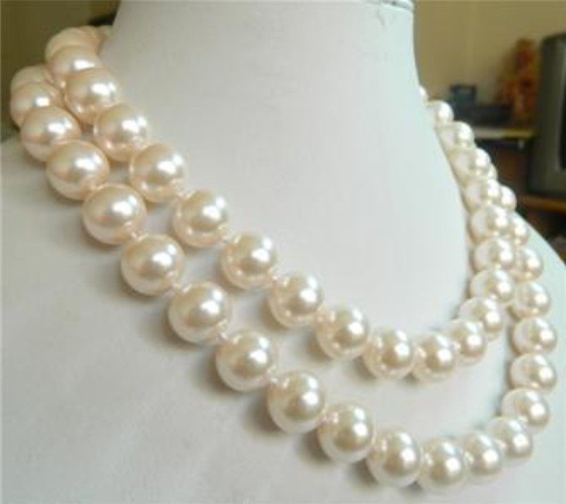 2018 10mm White Sea Shell Pearl Necklace Fashion Jewelry Rope Chain Necklace Pearl Beads Natural Stone 35inch(Minimum Order1)