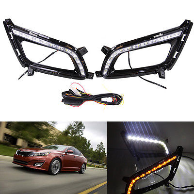 1Pair LED Daytime Running Lights DRL Turn Signals For Kia Optima/K5 2013-2014 for ford fusion 2013 16 guiding light daytime running lights drl turn signals 2x