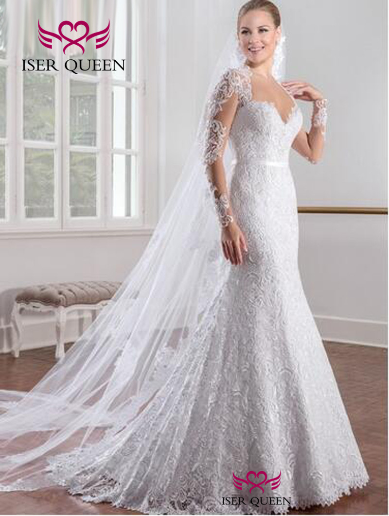 Long Sleeves Vintage Lace Mermaid Wedding Dresses Illusion Back Pure White Color Custom Made Wedding Dress Brazil W0151