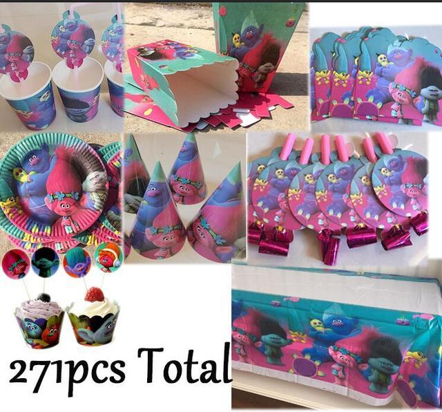 Trolls Party Forest Supplies 271pcs Kids Birthday Decoration Poppy Branch Cake Plate Invitation